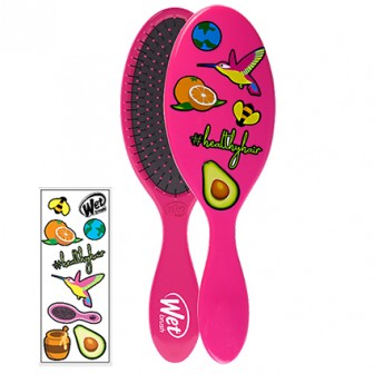 Wet Brush Detangler With Stickers Hair Brush Pink