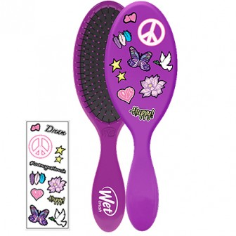 Wet Brush Detangler With Stickers Hair Brush Purple