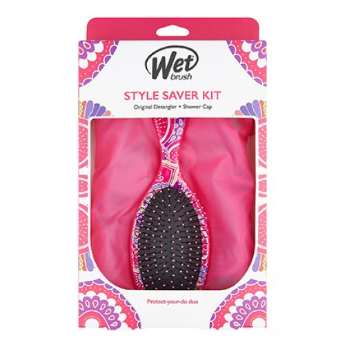 Wet Brush Original Detanlger and Deluxe Shower Cap Pink