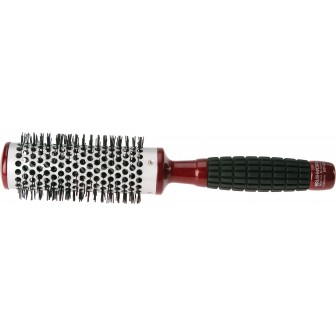 Brushworx Red Rubber Grip Hot Tube Hairbrush - Medium