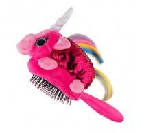 Wet Brush Plush Brush Kids Detangler Hair Brush - Rainbow Sequin Unicorn
