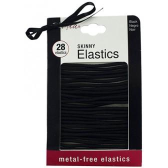 Mia Metal Free Skinny Hair Elastics, Black 28pk