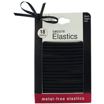 Mia Metal Free Smooth Hair Elastics in Black 18pk