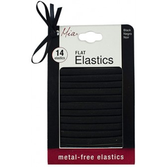 Mia Metal Free Flat Hair Elastics in Black 14pk