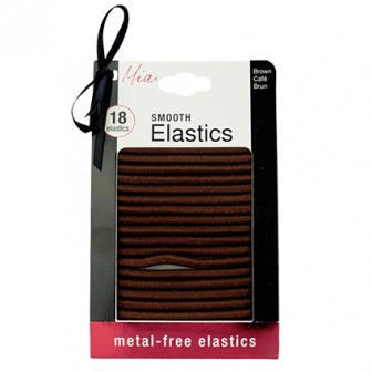 Mia Metal Free Smooth Hair Elastics in Brown 18pk