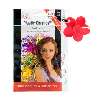 Mia Plastics Coloured Hair Elastics 500pk