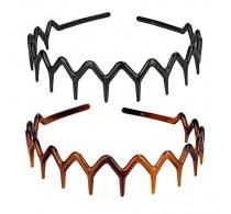 Mia Zigzag Black/Tortoise Headband 2pc