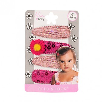 Mia Baby Sequins & Flowers Snip Snaps Pink 4pc