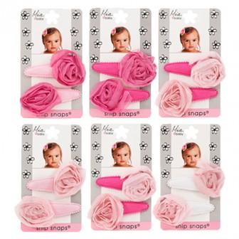 Mia Baby Rosette Chiffon Snip Snaps Pink 2pc