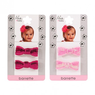 Mia Baby Sequins Bow Barrettes Assorted 2pc