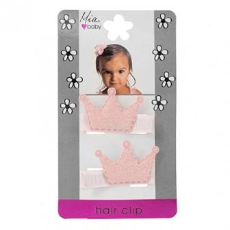 Mia Baby Crowns Glitter Pink 2pc