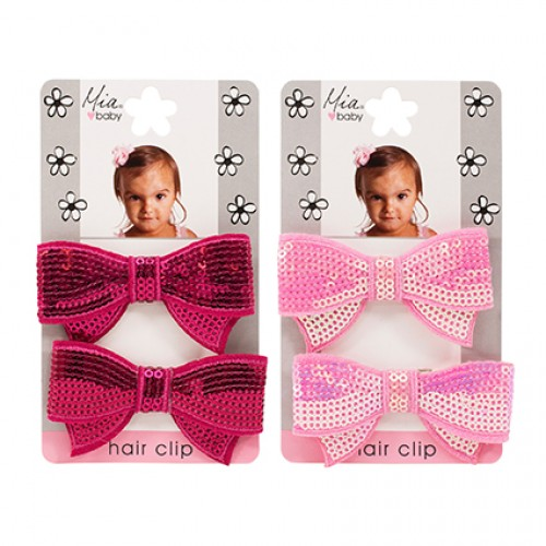 Mia Baby Sequin Bow Hair Clips Assorted 2pc