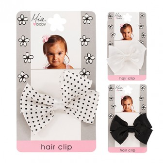 Mia Baby Frayed Satin Bow Hair Clip 1pc