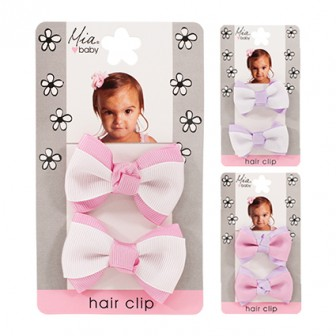 Baby Girl Light Pink Grosgrain Ribbon Hair Bow Clip White Crochet Headband 2PC
