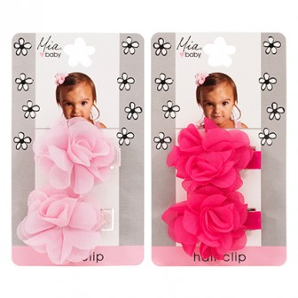 Mia Baby Flower Chiffon Hair Clip Assorted 2pc