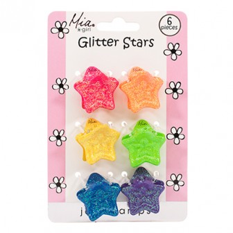 Mia Girl Rainbow Glitter Stars Clamps 6 Piece