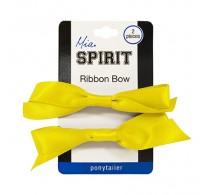 Mia Spirit Yellow/Gold Bow Ponytailer 2pc