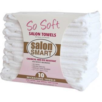 Salon Smart So Soft White Microfibre Towels 10 Pack