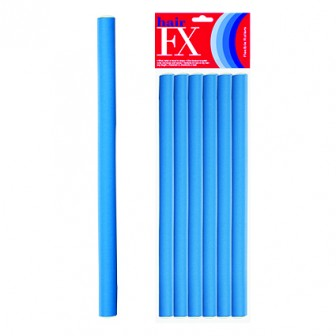 Hair FX Long Flexible Hair Rollers - Blue, 12pk