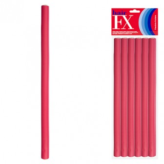 Hair FX Flexible Rod Long Red 12pc