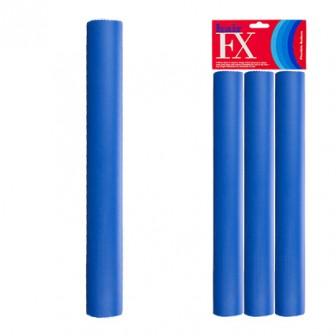Hair FX Flexible Rod Jumbo Blue 3pc