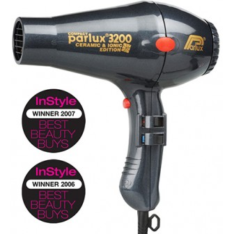 Parlux 3200 Ionic + Ceramic Compact Hair Dryer - Charcoal
