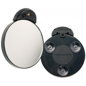 Tweezerman 10x Magnifying Lighted Mirror Attaches To Any Smooth Surface