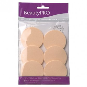 BeautyPRO Affinity Foundation Sponge Small Round Light Latex 6pc