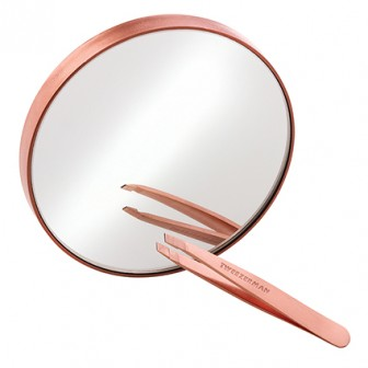 Tweezerman Rose Gold Mini Slant Tweezer And 10x Mirror Duo