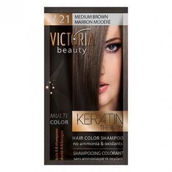 Victoria Beauty V21 Medium Brown Shampoo 6pc x 40ml