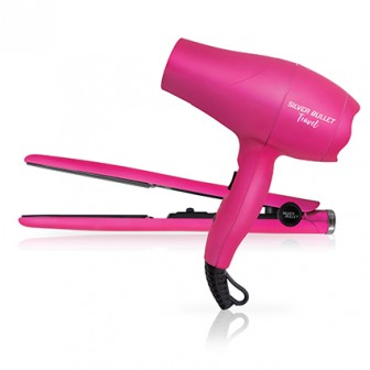 Silver Bullet Luxe Hair Dryer & Straightener Travel Set Pink