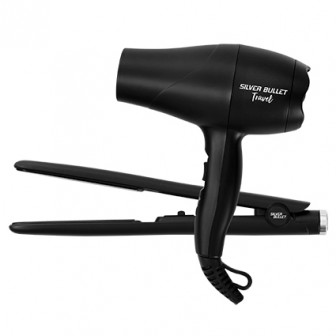 Silver Bullet Luxe Hair Dryer & Straightener Travel Set Matte Black