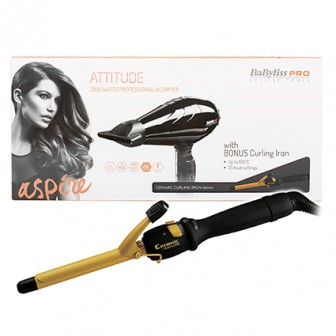 BaBylissPRO Attitude Hair Dryer And Curling Iron 16mm